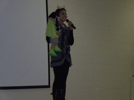 ventriloquist alyse eady performing